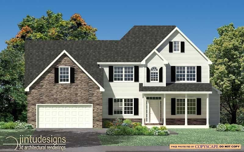 2d color front elevation