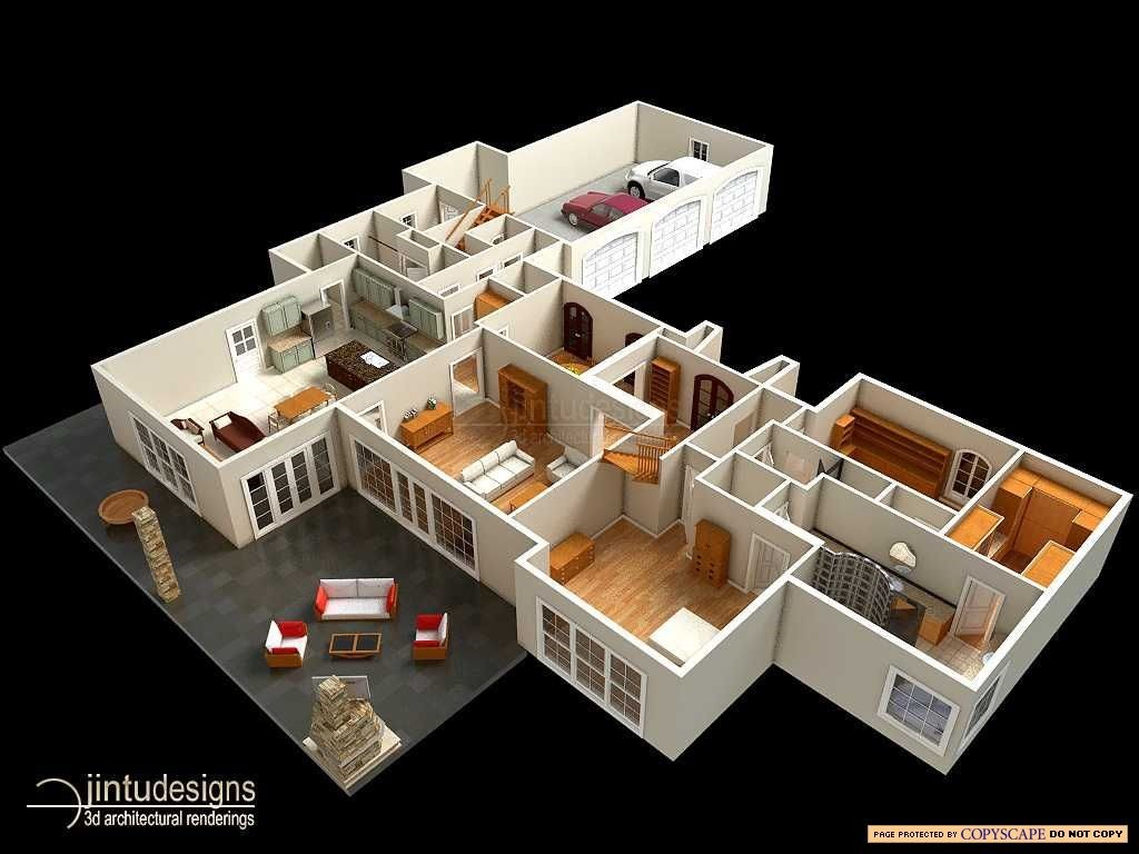 3d floor plan main - 3d Plan Drawing