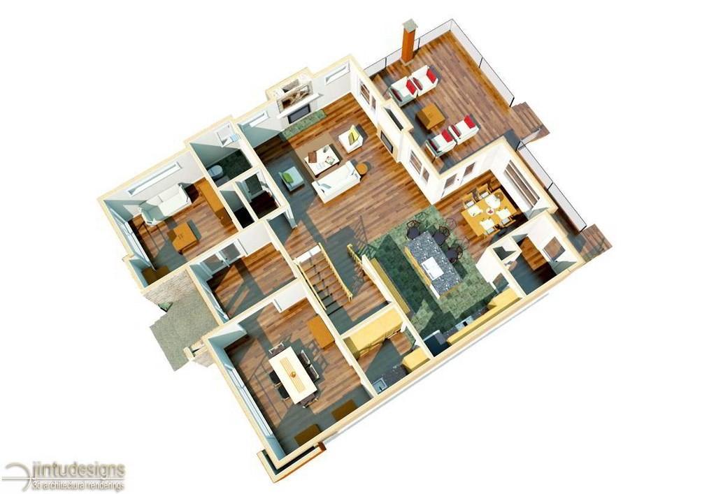 Nice 3d Rendering House Plans #2: 3d Floor Plan Rendering
