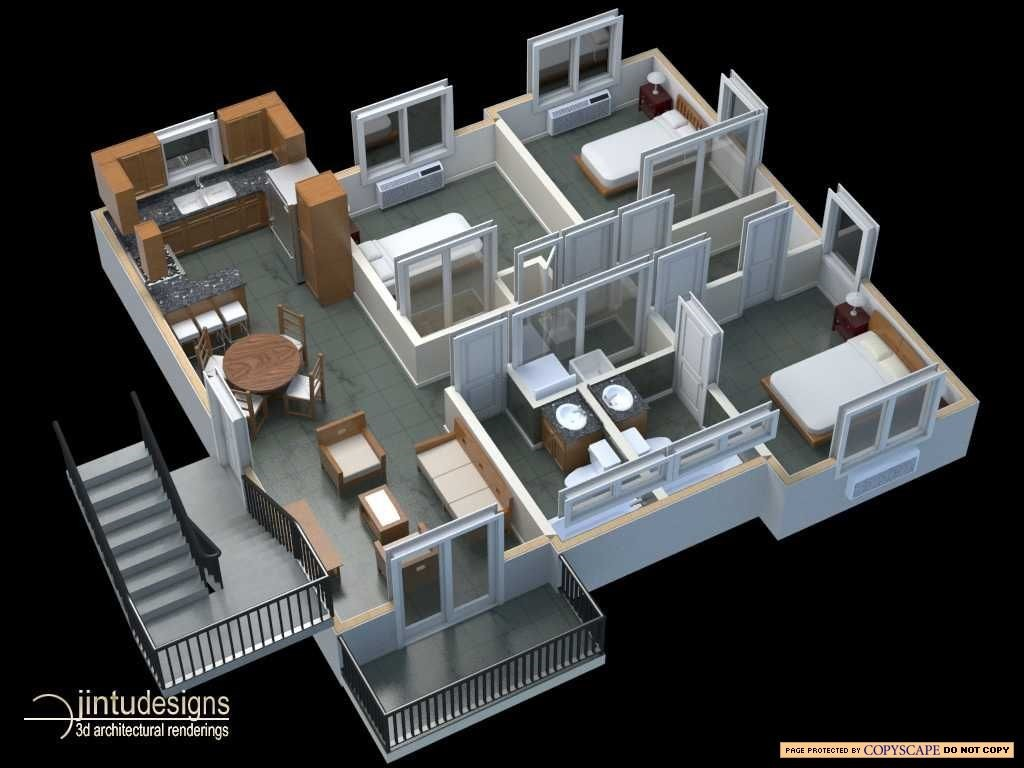 3d floor plan quality 3d floor plan renderings for Plan 3d online home design free
