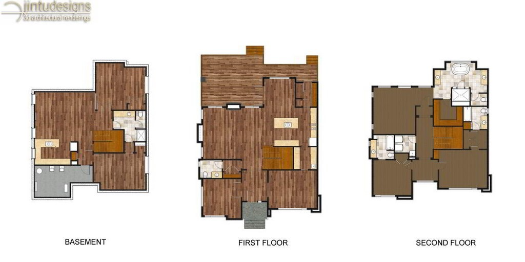 bare floor plan rendering no furniture - Flooring Plan