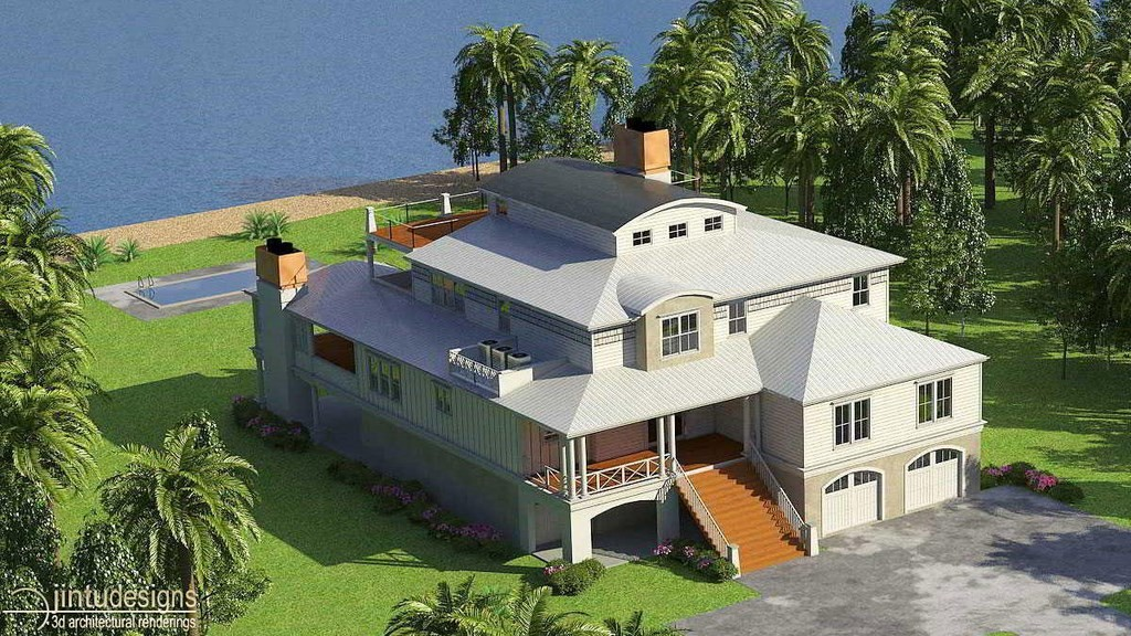 3d exterior rendering 3d front elevation for Beach house elevations