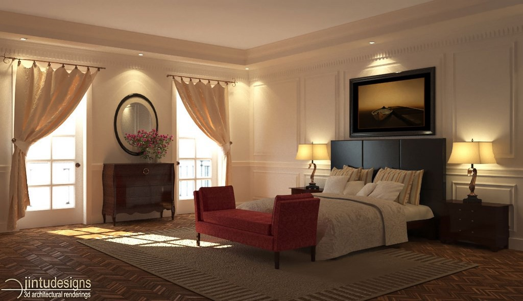 3d Bedroom Rendering Traditional Design