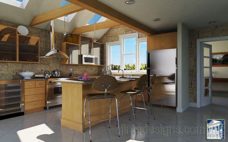 Contemporary Kitchen Layout Render
