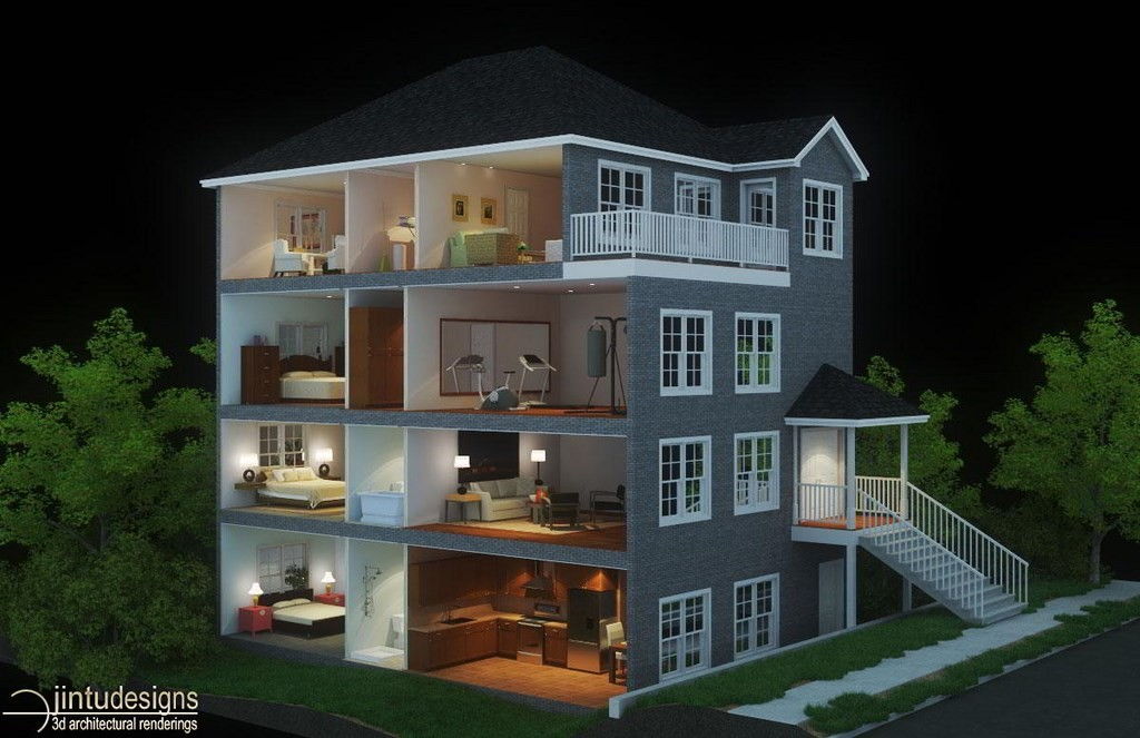 3d Floor Plan Rendering. Section Rendering Doll House