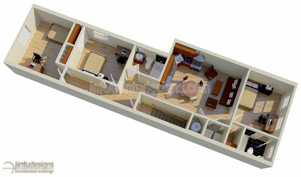3 Bedroom House Floor Plan 3D. 3D Home Floor Plan Designs