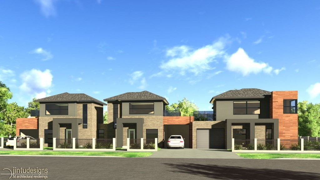 Rendering of house exterior architectural 3d exterior for Contemporary townhouse plans