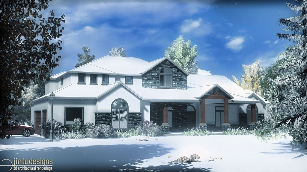 Winter Scene Architectural Rendering