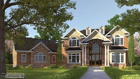 exterior rendering - brick and stone