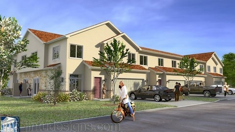 townhouse rendering -3d perspective