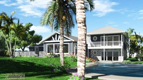 architectural rendering - beach house - artist impression