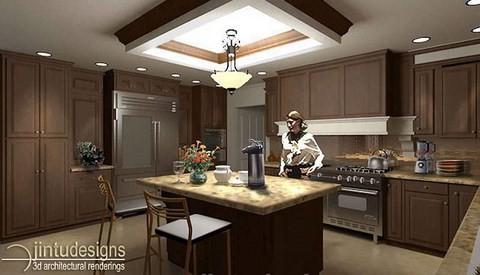 basement kitchen design -rendering