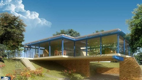 brick glass house rendering