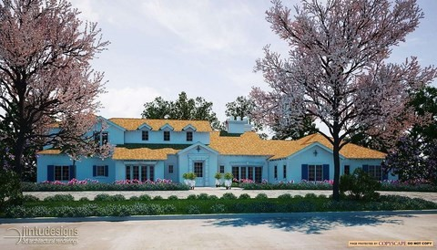 house rendering modern stucco