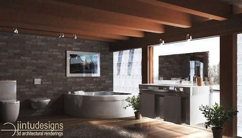 modern bathroom design and rendering