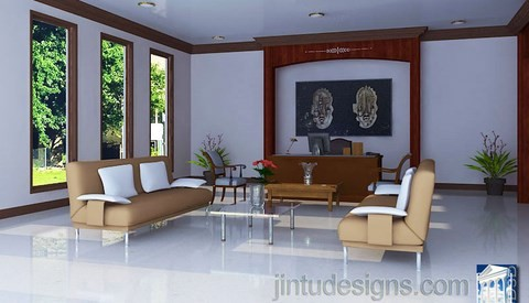 modern private office interior large windows