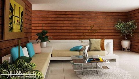 retro living room plank wood walls