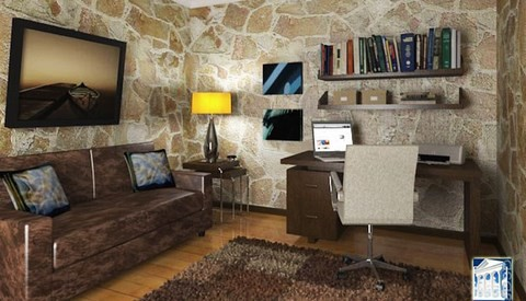 study room stone walls wood floors