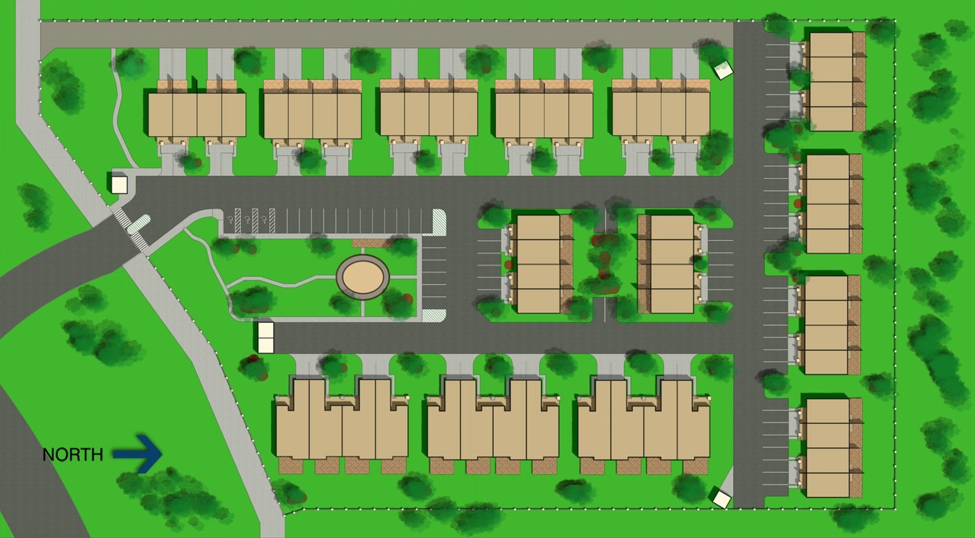 Site plan rendering of housing units – Plot Plan And Site Plan