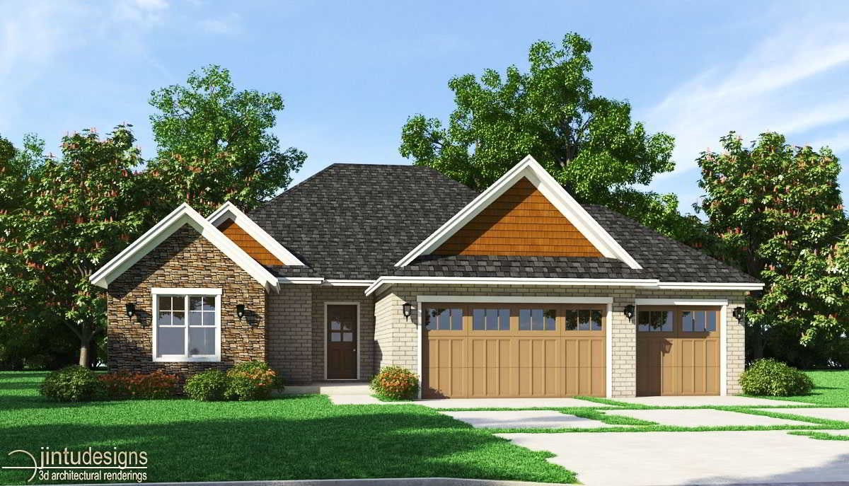 French Country House Rendering