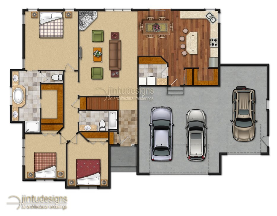 Color floor plan residential floor plans 2d floor plan for Residential house floor plan
