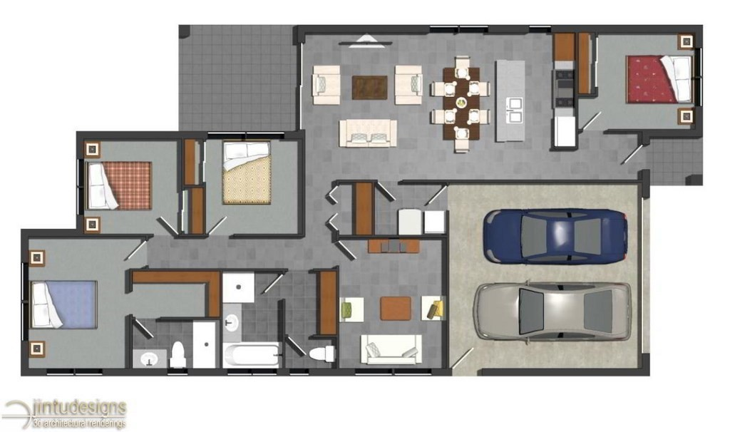 Color floor plan residential floor plans 2d floor plan for Apartment 2d plans