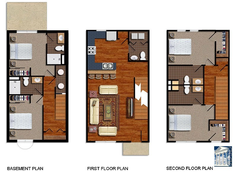 Color floor plan residential floor plans 2d floor plan renderings - Colorful house plans ...