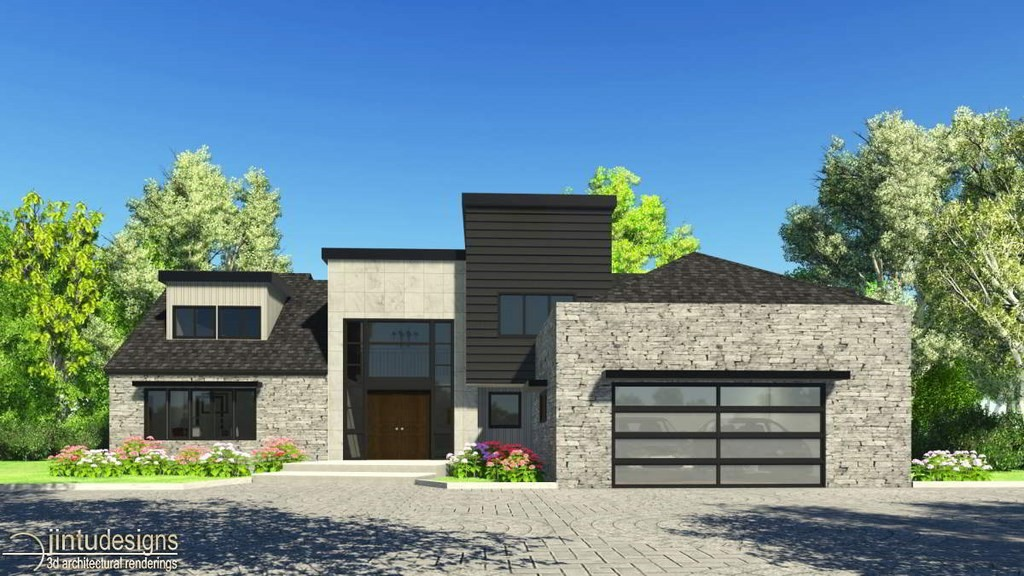 Rendering of house exterior architectural 3d exterior for Large modern house plans